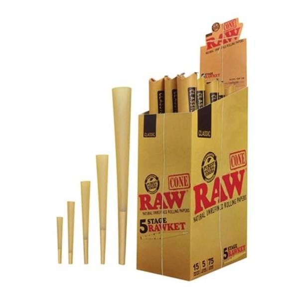 *Raw Classic Pre-Roll Cone 5-in-1 Rawket 5 Stage 15Pack/box #R5I